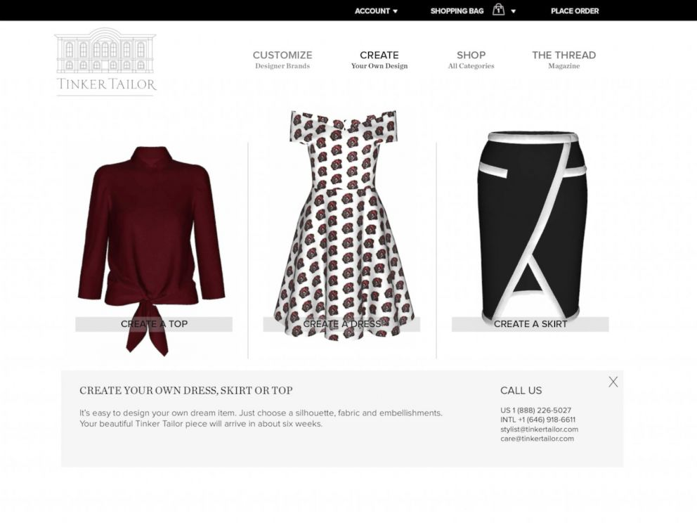 PHOTO: Tinker Tailor lets users customize designer dressers and create their own silhouettes.