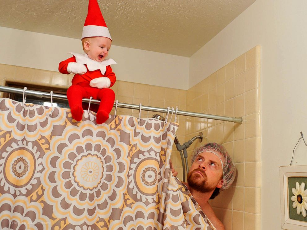 PHOTO: Alan Lawrence is documenting his 4-month-old son Rockwell dressed up as Elf on The Shelf as part of a photo series for his blog, That Dad Blog.