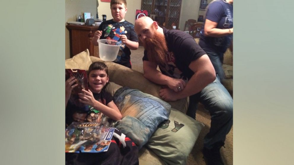Colby Tutt, 13, of Cleburne, Texas received a surprise visit from WWE wrestler Erick Rowan on March 30.