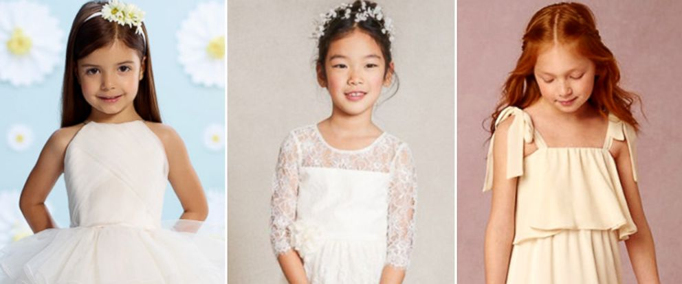 "PHOTO: Kellie Gould, editor in chief of The Knot, shows ""Good Morning America"" the hottest flower girl dress trends of 2016."