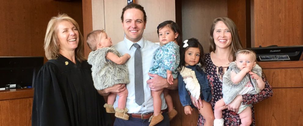 PHOTO: A Utah couple adopted four daughters in 24 hours.