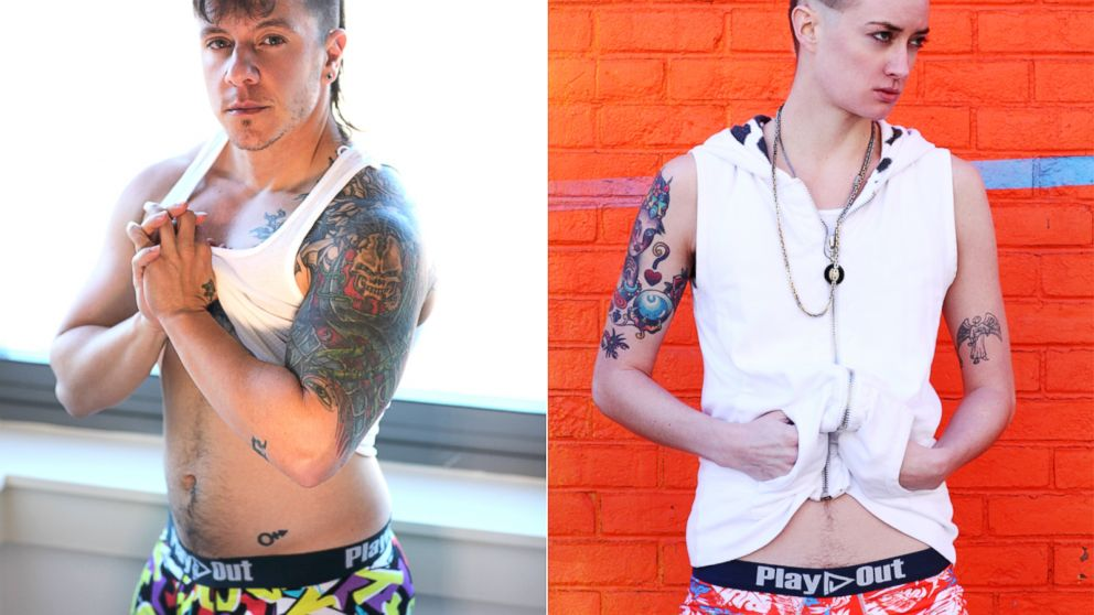 Play Out Underwear has debuted what's thought to be the first line of gender-neutral underwear. The female model on the right wears the boxer briefs, as does the model on the left, a female-to-male transsexual person.