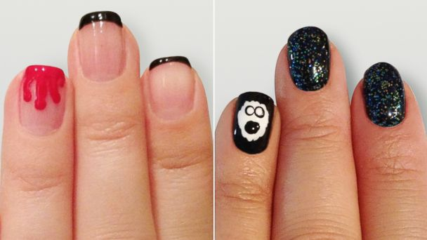 PHOTO: GoodMorningAmerica.coms exclusive spooky chic Halloween nail art is so manicure.