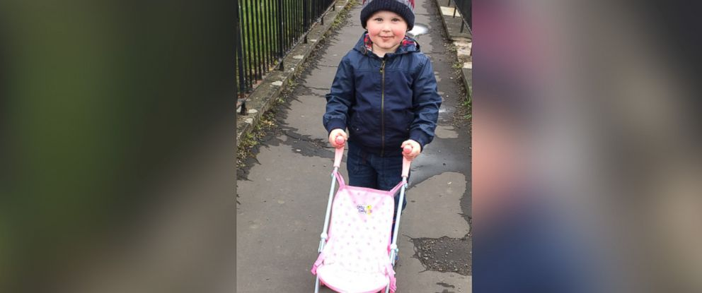 PHOTO: Rheann MacLaren, 25, of Fife, Scotland, slammed a stranger who she said criticized her son Harry, 3, for wanting to play with a dolls stroller at a local toy shop.