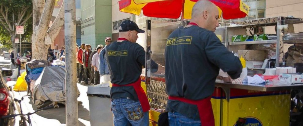 PHOTO: Students get real-world practice at vending hot dogs.