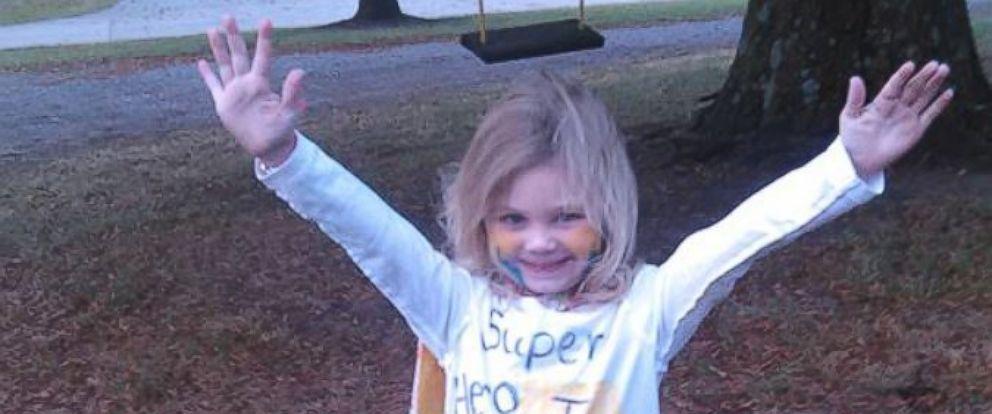 PHOTO: Josie Kimberlin, 4, dressed as herself on superhero day at her Missouri preschool last week.
