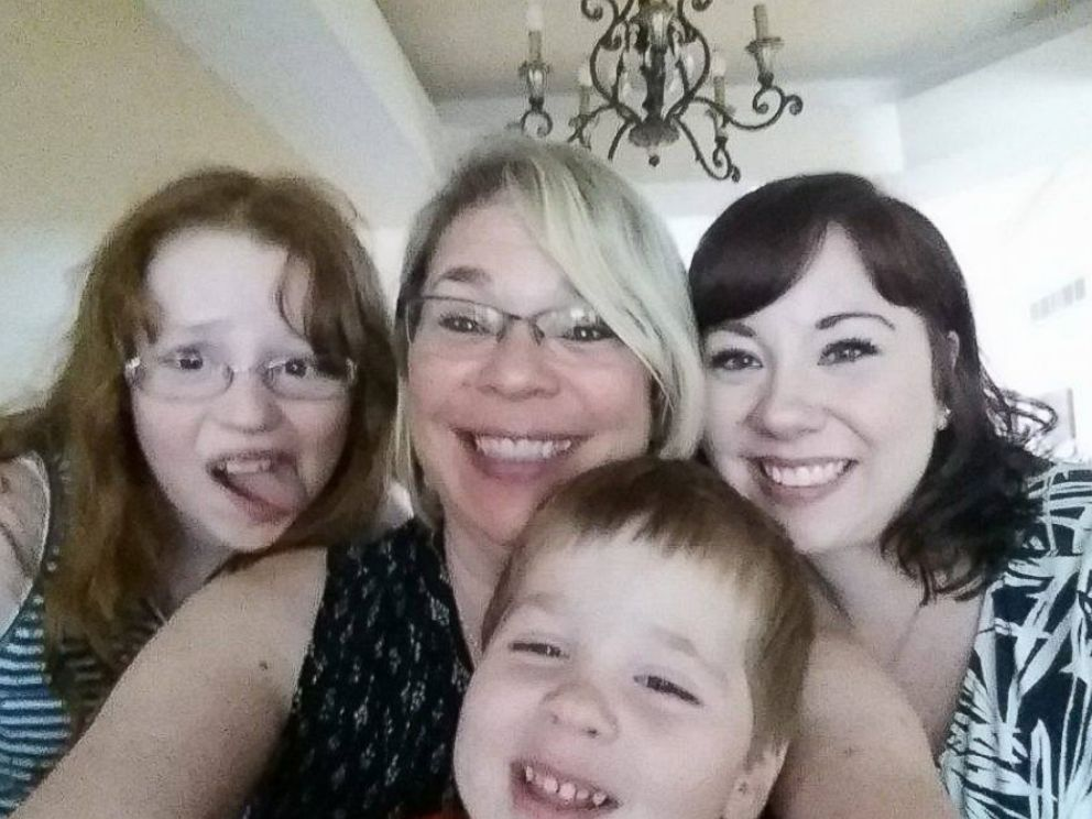 PHOTO: Kate-Madonna Hindes, who found her birth mother, Aimee Sordelli, on Facebook with her two children, Daniel and Ava.