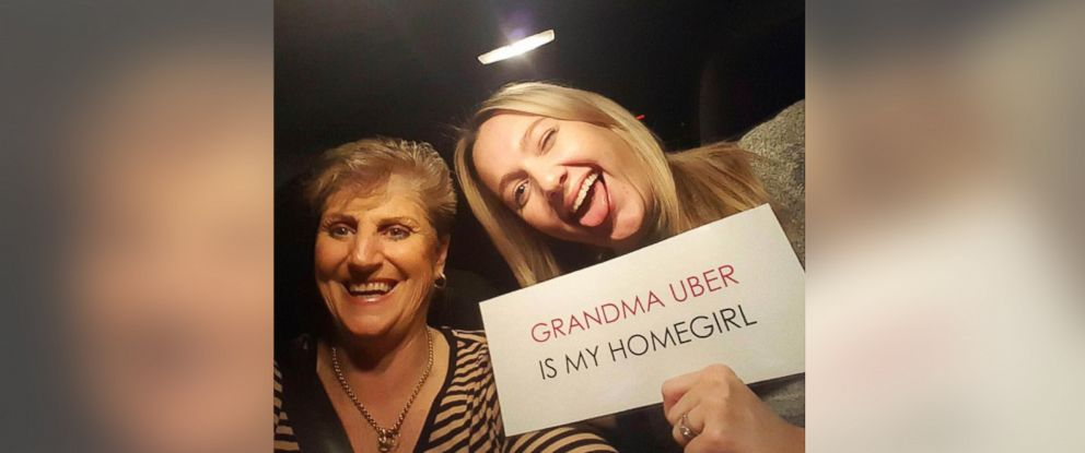 "PHOTO: Kathy Raydings, known as ""Grandma Uber,"" with one of her passengers, Gabby Roach."