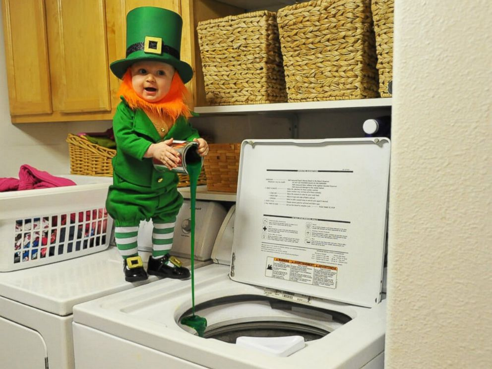 PHOTO: Real-life leprechaun Rockwell Lawrence, 6 months, causes trouble in the laundry room.