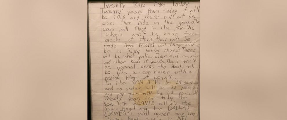 PHOTO: Christopher Janitz received a letter he wrote as a kid about his predictions for 2016 as a birthday present 20 years later.