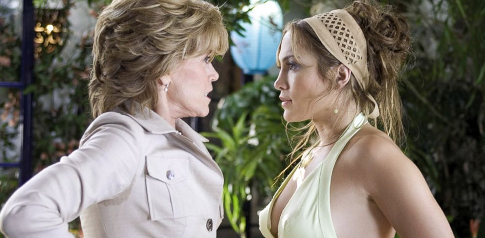 """PHOTO: In this undated promotional photo released by New Line Productions, Jane Fonda, left, as Viola and Jennifer Lopez as Charlie appear in this scene from """"Monster-in-Law."""""""