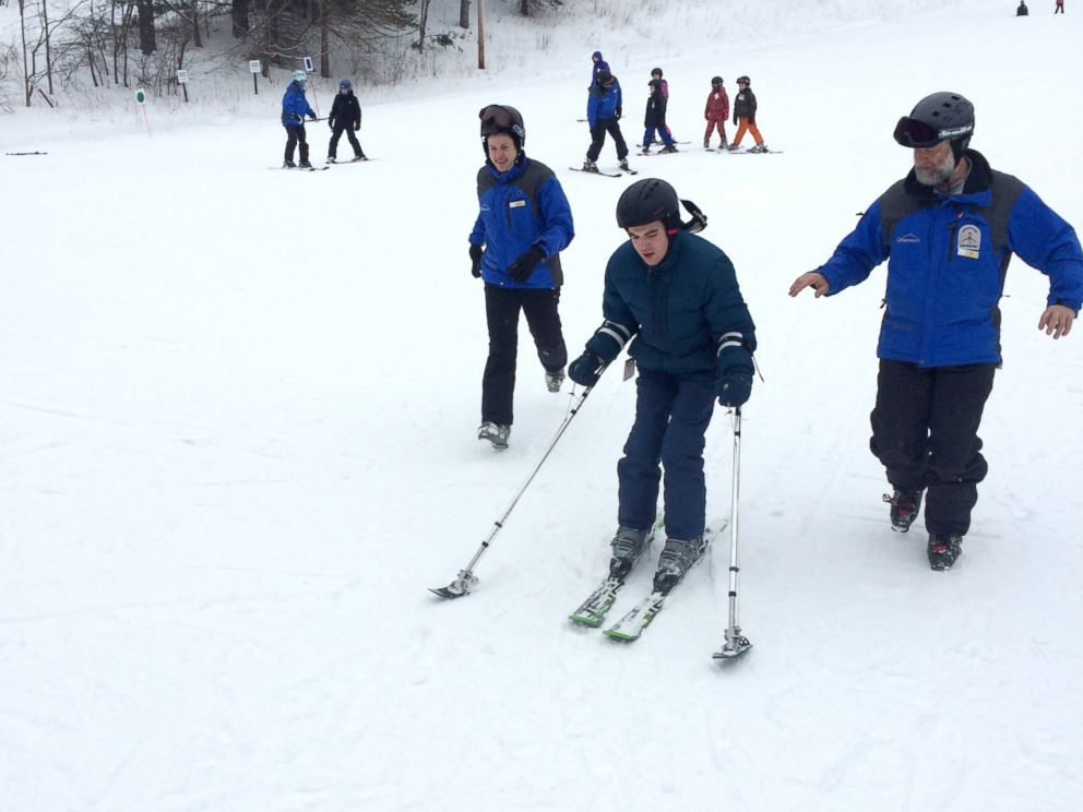 PHOTO: Andrew Vella, 16, has cerebral palsy and went skiing for the first time as part of NYU Langone's new Adaptive Skiing Program.