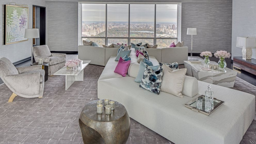 what the most expensive apartment in new york city will look likeview of the living area of a model apartment in the luxurious one57 building in new