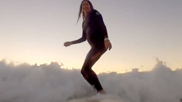 PHOTO: Kristi Olivares continued surfing four times a week even at nine months pregnant, according to a blog post she wrote.
