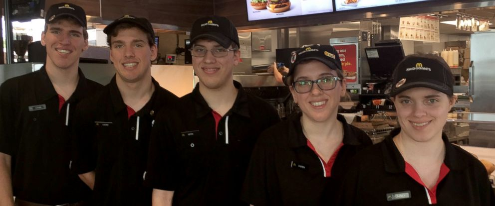 PHOTO: Quintuplets Leith, Lauren, Logan, Lindsey and Lucas Curtis, all 18, are part-time employees at the same McDonalds in Potterville, Michigan.