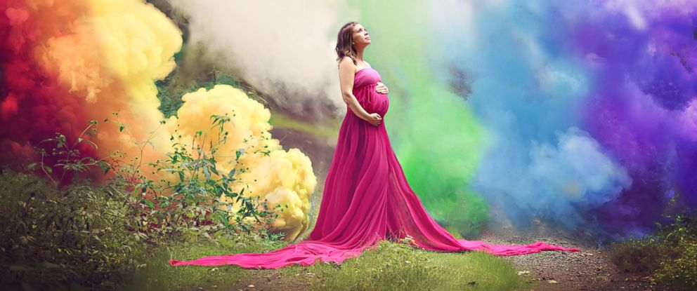 PHOTO: Jessica Mahoney celebrated getting pregnant after six miscarriages in an inspiring rainbow-themed maternity photo shoot.