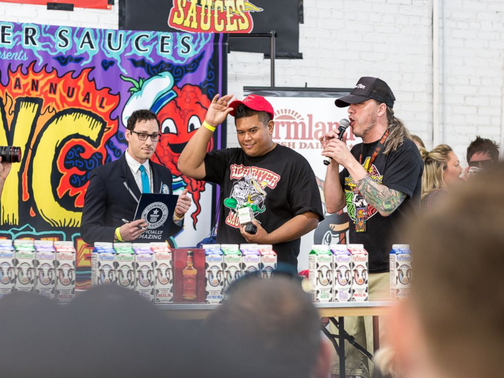 PHOTO:Algenio ate 119 grams, or 22 of the reaper peppers at the NYC Hot Sauce Expo in Brooklyn, New York on April 24, 2016.