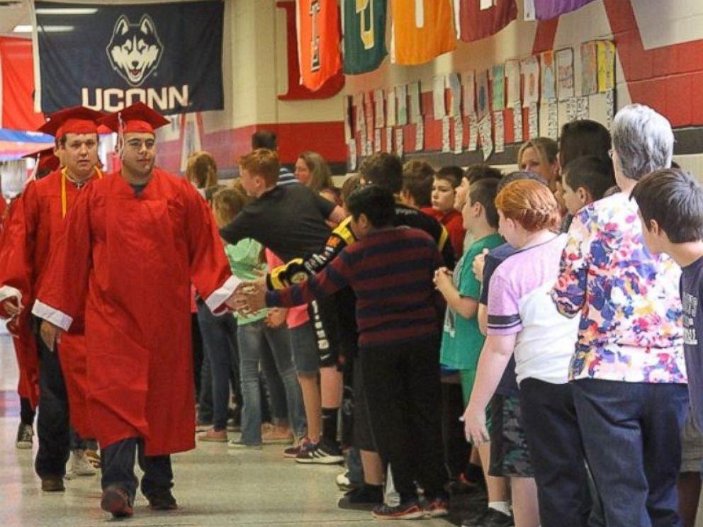 PHOTO: Photos of Van High School seniors in Texas walking the halls have gone viral on Facebook.