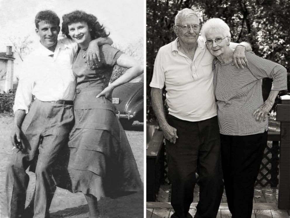 PHOTO: Shirley and Donald Keena photographed in 1950 and 2013.