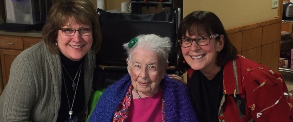 PHOTO: Sister Mary Mark photographed alongside volunteer Mary Lou Carney and Kathleen Conrad at her 105th birthday party on Jan. 11.