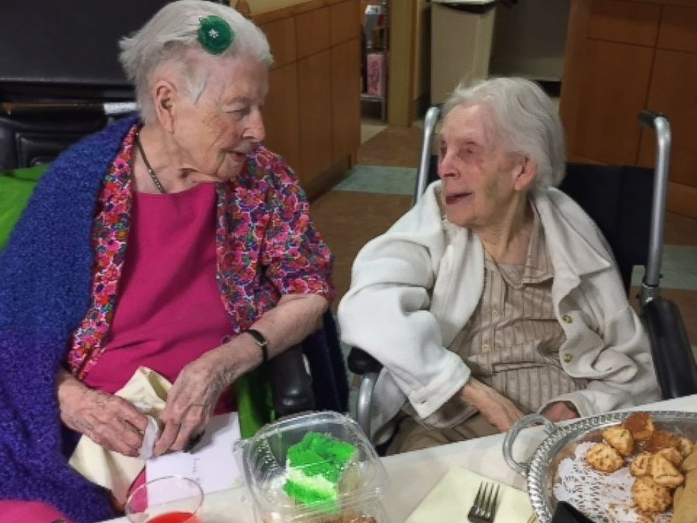 PHOTO: Sister Mary Mark photographed with fellow Carondelet Village resident Sister Mary Lenore in St Paul, MN on Jan. 11.