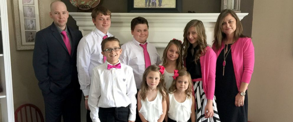 PHOTO: With three children of her own, Cole, 10, Hayden, 6 and Calen, 2, and Laikeps six kids, Will, 15, Selena, 14, Jaxson, 12, Dallas, 10, Lily, 5, Ace, 2, Culley now has nine all together.