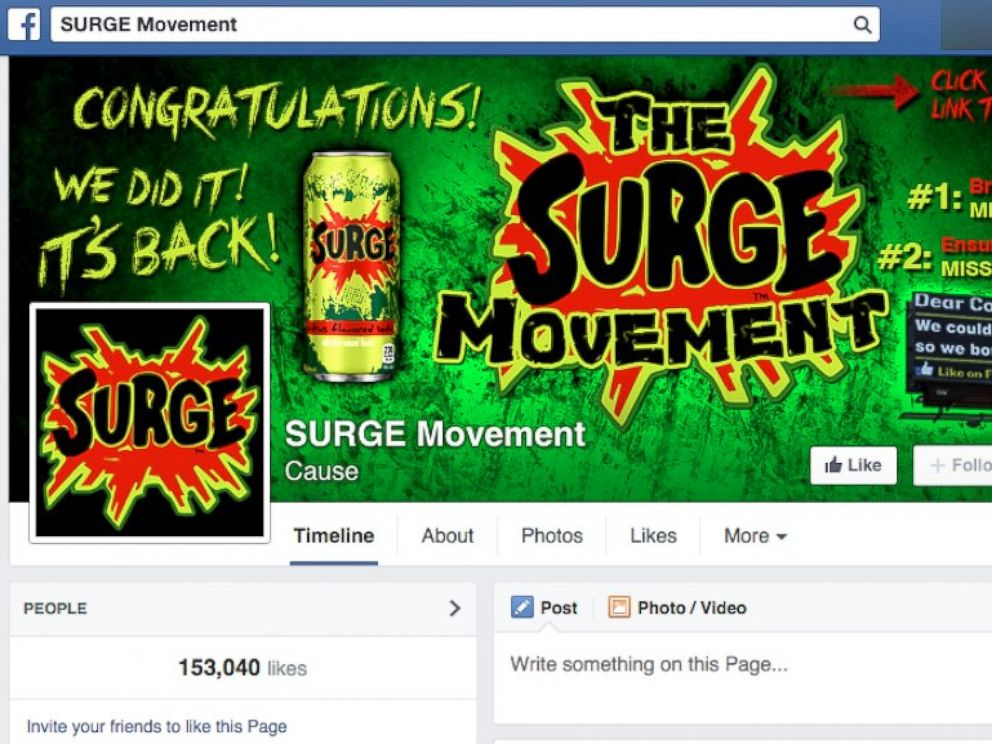 PHOTO: Over 153,000 people have come together on Facebook to petition for Surge sodas return.