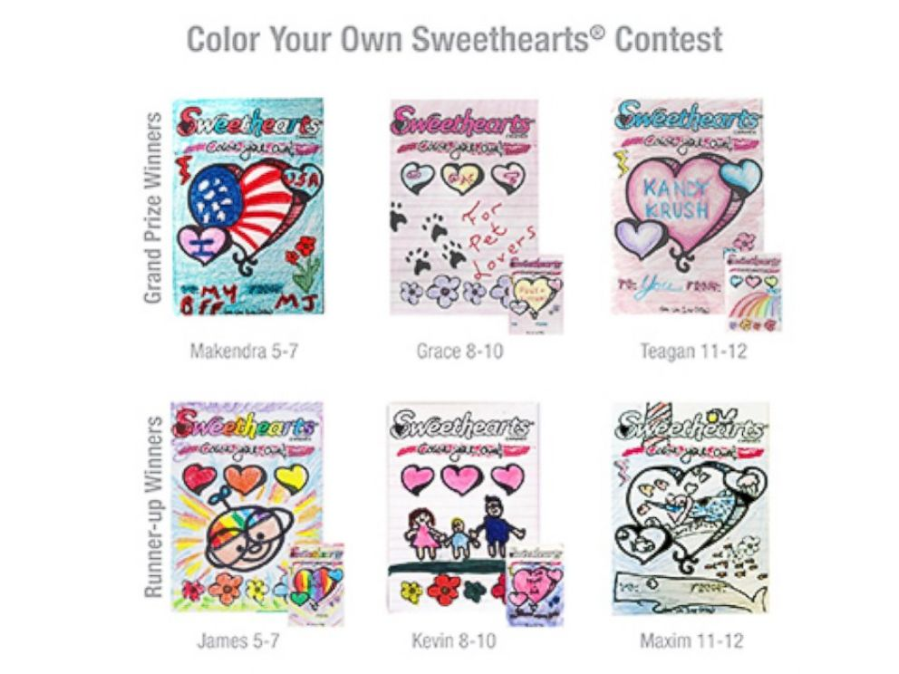 PHOTO: The winning drawings in Sweethearts Color Your Own contest.