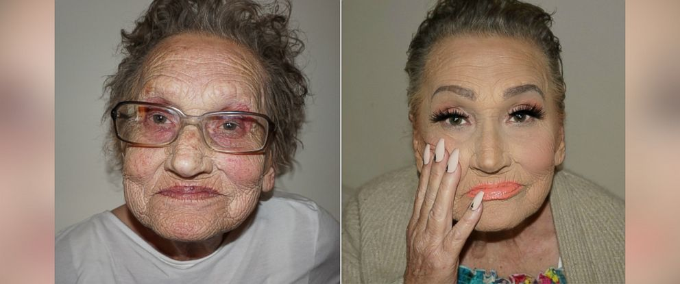 PHOTO: Makeup artist Tea Flegos 80-year-old grandmother Livia asked her for a makeover and became an Internet sensation.