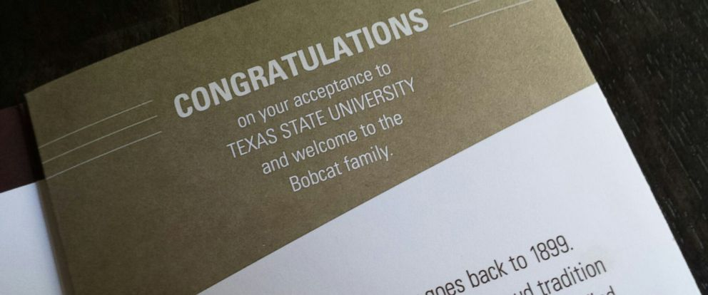 PHOTO: An acceptance brochure was mistakenly sent by a third-party vendor to 454 applicants to Texas State University.