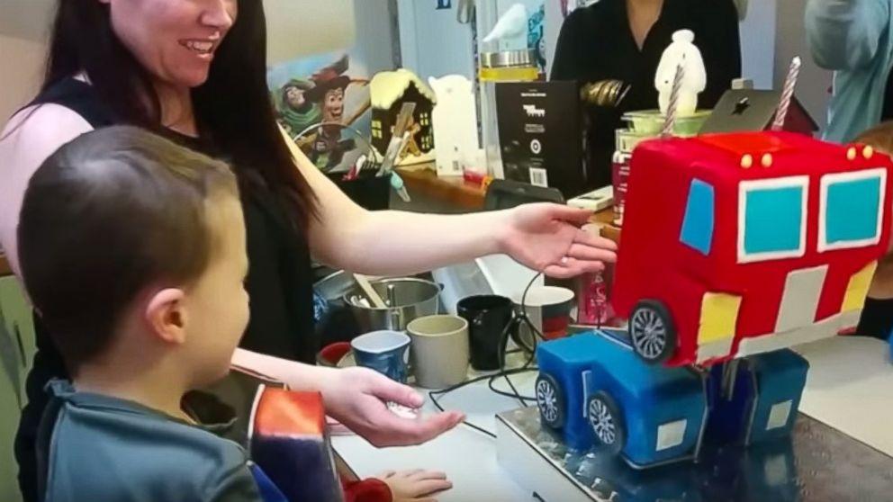Surprising Amazing Parents Create Transforming Optimus Prime Birthday Cake Funny Birthday Cards Online Alyptdamsfinfo