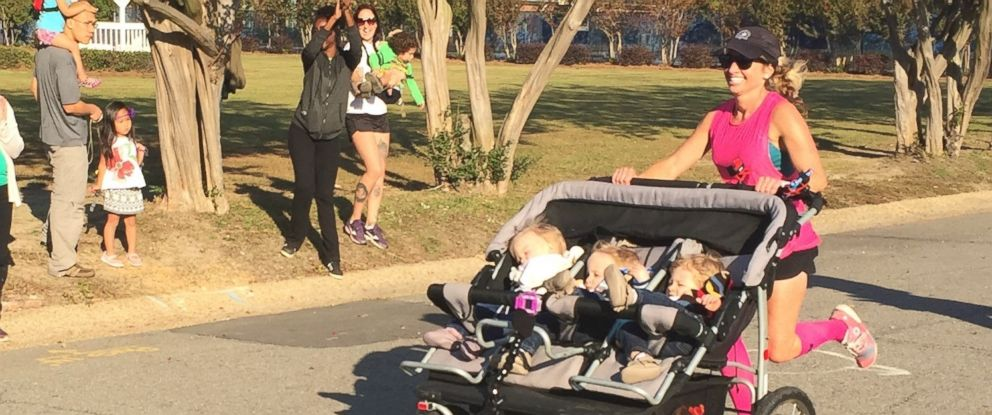 PHOTO: Suzy Goodwin, 35, of Fayetteville, North Carolina, ran a half marathon in 2 hours, 1 minute while pushing her 14-month-old triplets in a triple stroller.