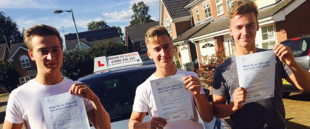 PHOTO: Cameron, Finlay and Ethan Cassidy of Ipswich, all 17, of Suffolk England, passed their driving tests on the same day, Sept. 23, 2016.