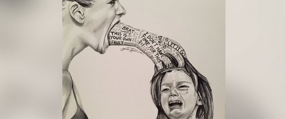 PHOTO:Jenna Simon, 28, of Princeton, New Jersey, created a powerful sketch depicting verbal abuse.