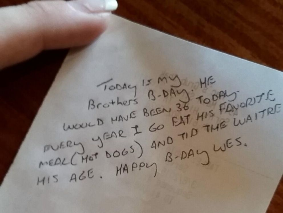 PHOTO: The 25-year-old waitress received a $36 tip and an anonymous note.