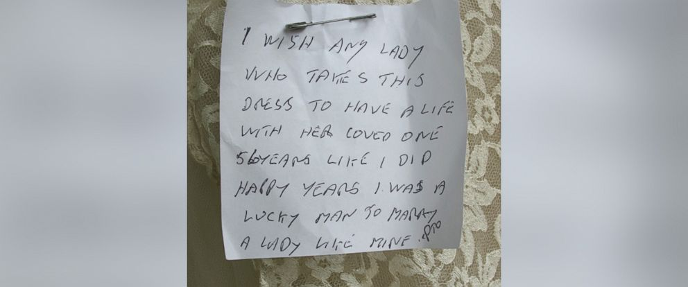 PHOTO: A heartfelt note was attached to an anonymous wedding gown donation.
