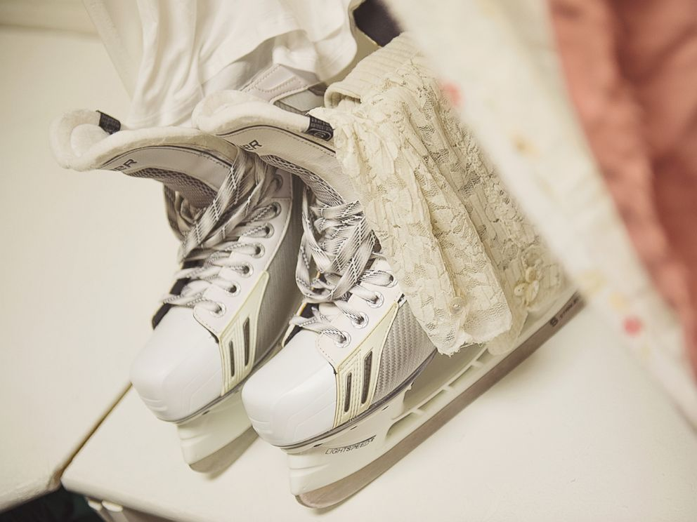 PHOTO: Courtney Sikkenga matched her wedding dress with a pair of skates.