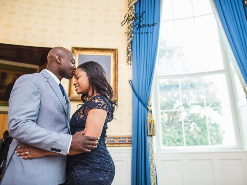 PHOTO: U.S. Coast Guard civilian employee Shameeka Edwards was surprised when her boyfriend U.S. Coast Guard naval engineer Orlando Morel proposed in the White House.