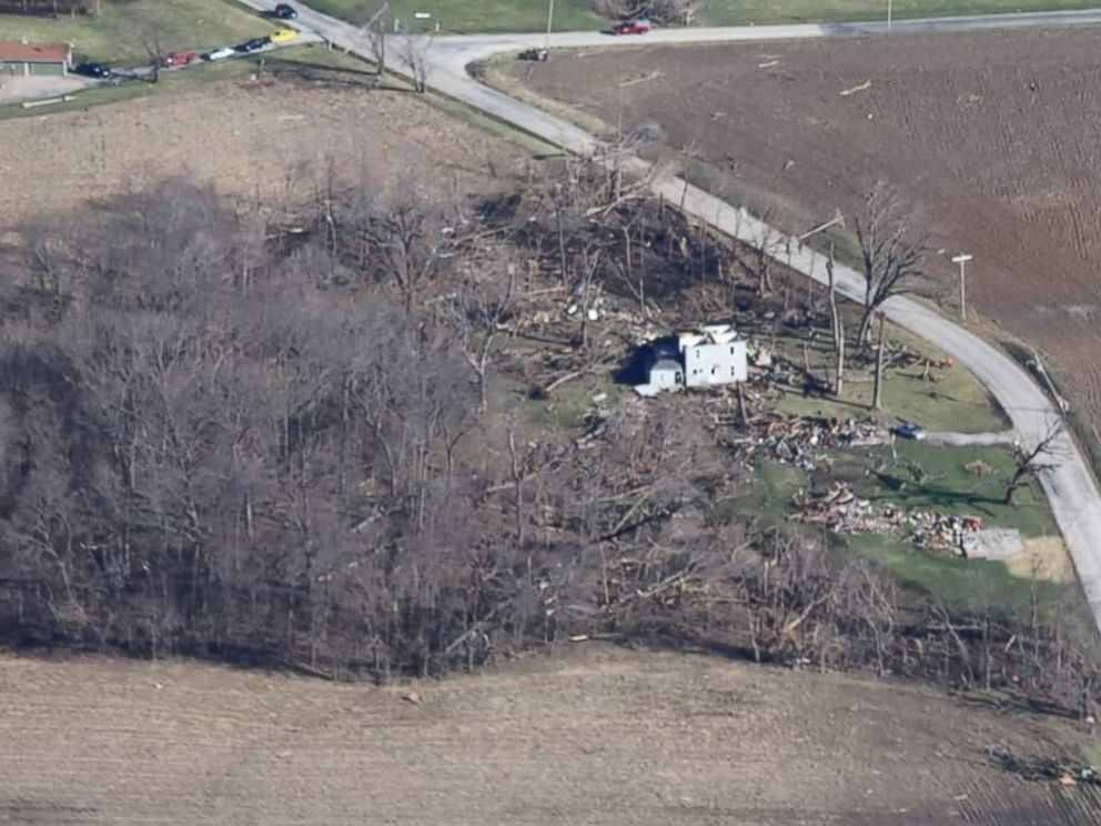 PHOTO: Jill Stawcki, 55, says a series of tornadoes ripped off the entire roof of her mothers home in East Moline, Illinois, on March 15, 2016.