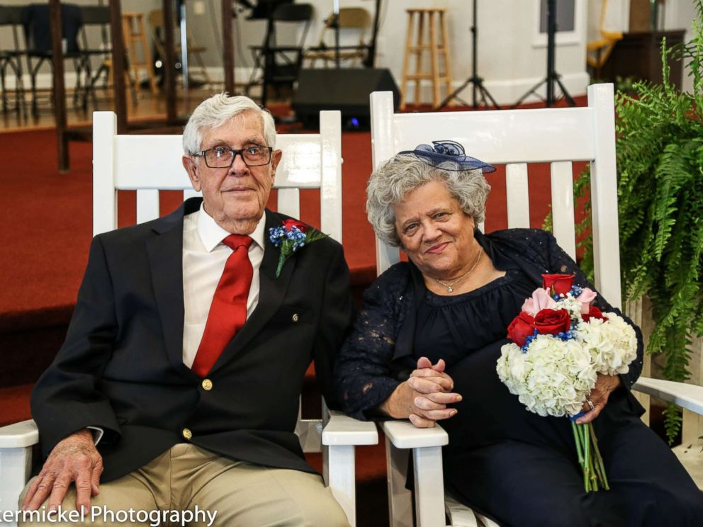 PHOTO: Teenage sweethearts Ed Sellers, 88, and Katie Smith, 89, tied the knot on July 16 in Stanley, N.C.