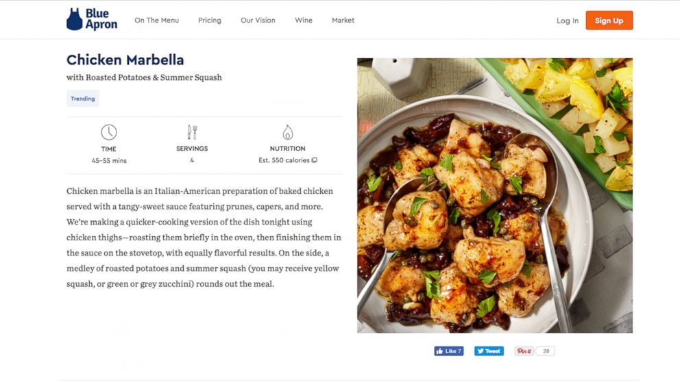 """GMA"" ordered the Chicken Marbella meal from Blue Apron."