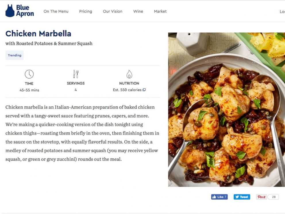 PHOTO: GMA ordered the Chicken Marbella meal from Blue Apron.