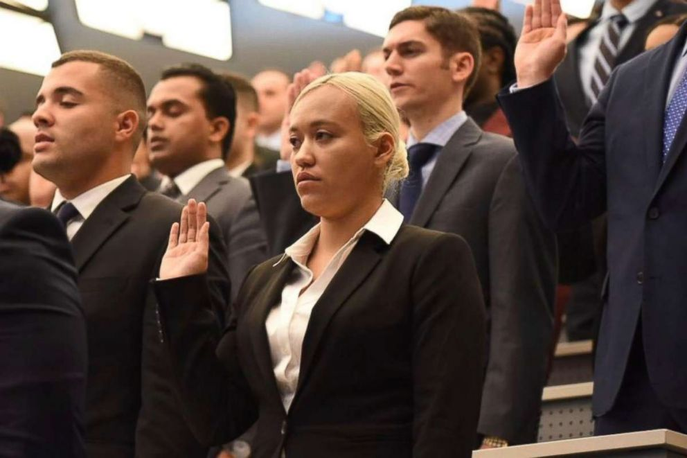 PHOTO: Jillian Suarez took the Oath of Honor with 270 other police recruits as they took the Oath of Honor at the Police Academy, April 26, 2018.