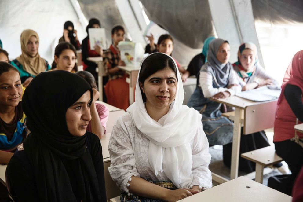 PHOTO: In 2017, Malala Yousafzai visited a camp in Mosul for internally displaced persons where she was hosted by 13-year-old Nayir.