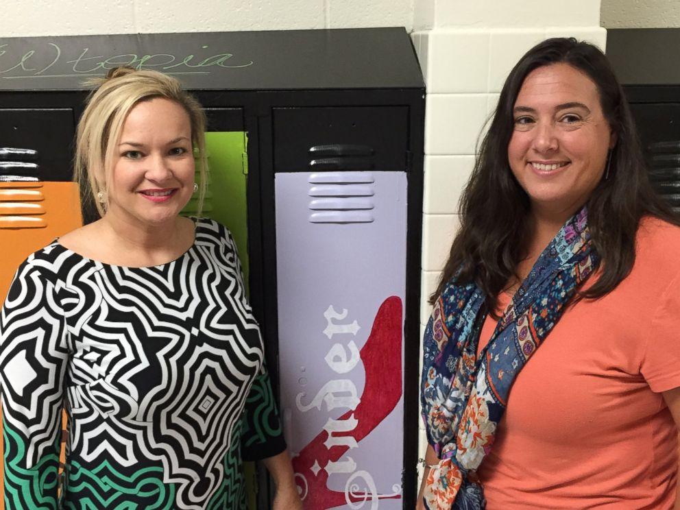 PHOTO:Teachers and volunteers at Biloxi Junior High School painted lockers to look like books.