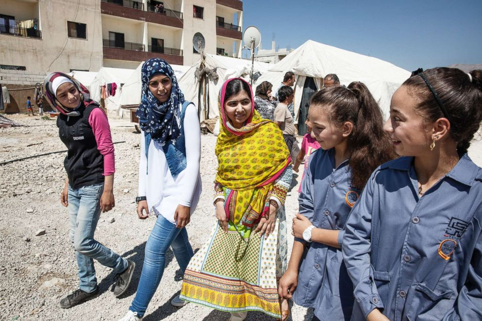 PHOTO:On her 18th birthday in July 2015, Malala Yousafzai opened a school for Syrian refugee girls living in an informal camp in Bekaa Valley, Lebanon.