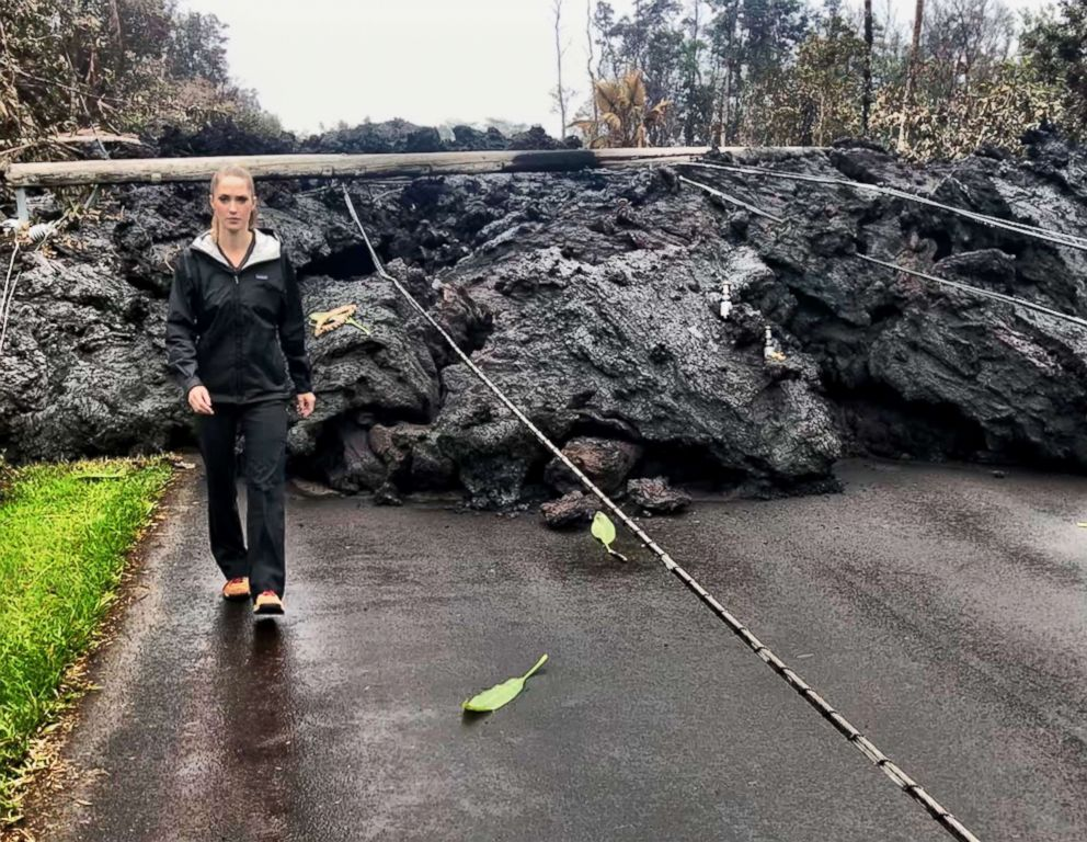 PHOTO: ABCs Kayna Whitworth reports from Hawaii during the eruption of Mt. Kilauea.