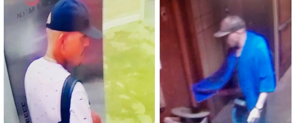 This combination of images made from surveillance video provided by the Honolulu Police Department shows a man seen at Alohilani hotel on Sunday, Aug. 4, 2019, left, and at Hilton Hawaiian Grand Waikikian on Tuesday, Aug. 6, near Waikiki Beach in Haw