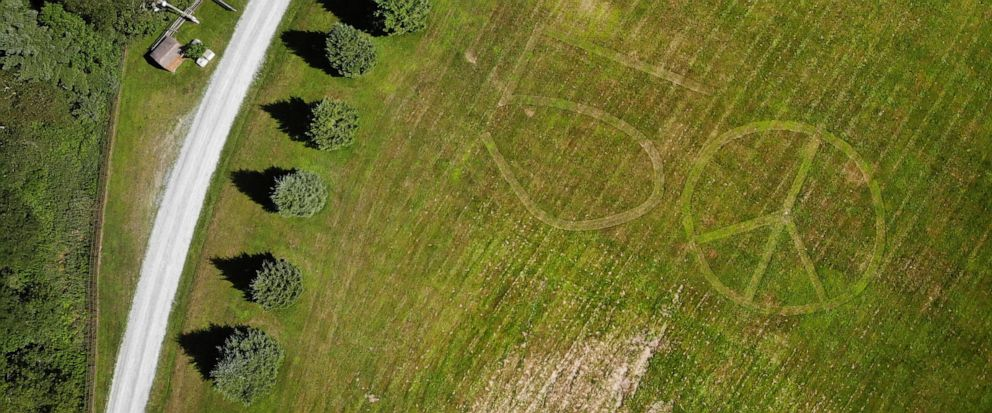 This Wednesday, July 24, 2019, photo shows the number 50 and a peace sign mowed into the grass at the site of the 1969 Woodstock Music and Arts Fair in Bethel, N.Y. Fifty years later, memories of the rainy weekend Aug. 15-18, 1969, remain sharp among