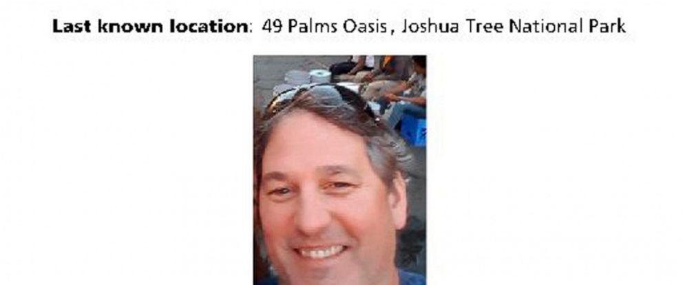 FILE - This undated image posted in July, 2018 on the Joshua Tree National Park Twitter page shows information about Paul Miller, 51, a Canadian man missing since heading out for a hike on July 13, 2018, in the Southern California desert park. A sear